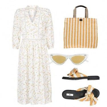 Outfit Fiori e righe