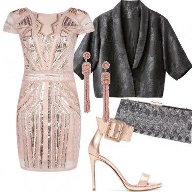 Outfit Paillettes rosa antico e grigio piombo