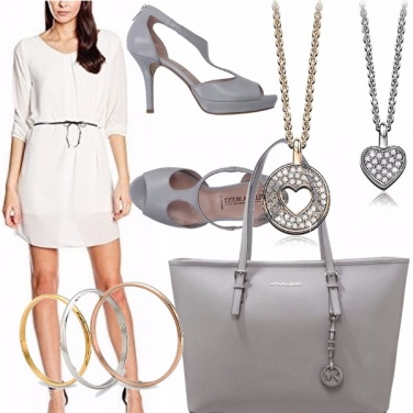 Outfit White and gray