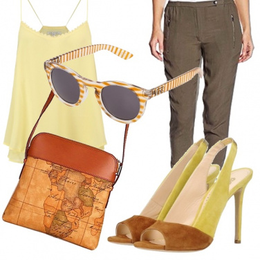 Outfit Giallo e marrone