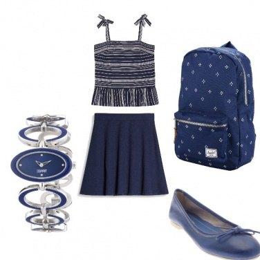 Outfit Studentessa in blu