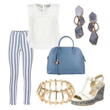 Outfit Bianco e azzurro da giorno