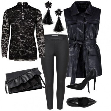 Outfit Pizzo e pelle total black