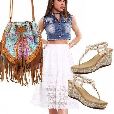 Outfit Jeans, frange e san gallo