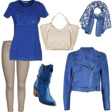 Outfit Biker Jacket light blue