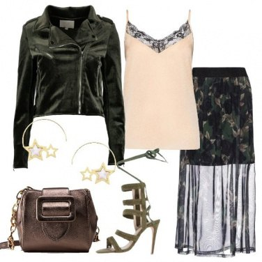 Outfit Biker e gonna in chiffon floreale