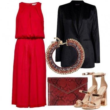 Outfit Rosso di sera con la jumpsuit