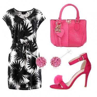 Outfit Rosa shocking e palme