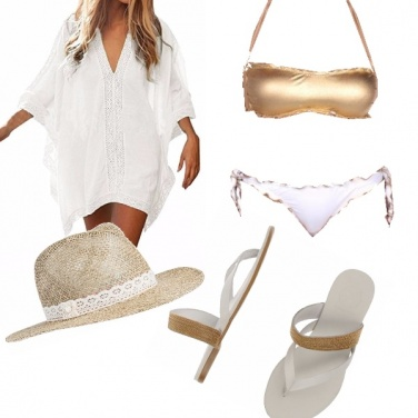 Outfit Al mare in bianco e oro