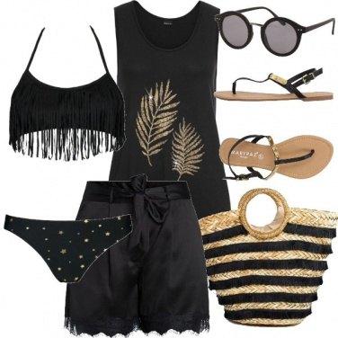 Outfit Spiaggia nero e oro