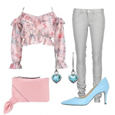 Outfit Crop top floreale