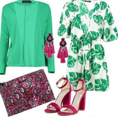 Outfit Verde tropical e Magenta