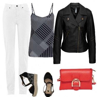 Outfit Il biker, il bianco, il nero e il rosso