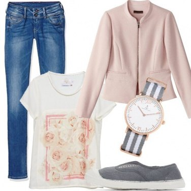 Outfit Jeans e colori romantici