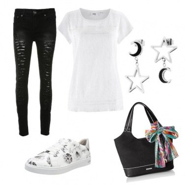 Outfit Casual Black and White