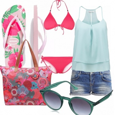 Outfit On the beach...green&pink