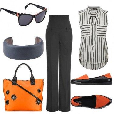 Outfit Il nero si tinge di arancio