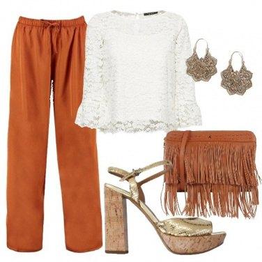 Outfit Cognac oro e bianco