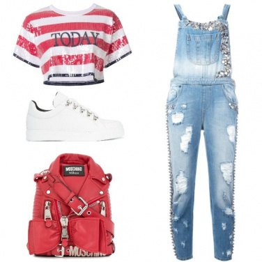 Outfit Il crop top a righe