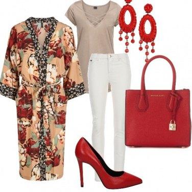 Outfit Il kimono e il rosso