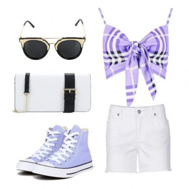 Outfit Converse lilla e shorts bianco