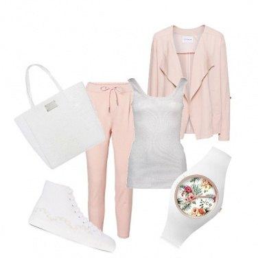 Outfit Bianco e rosa