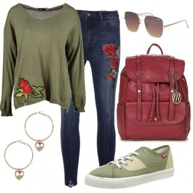 Outfit Jeans e rose