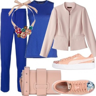 Outfit Blue electric e rosa pastello
