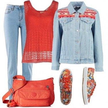 Outfit Denim e Orange Basic