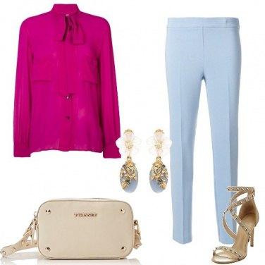 Outfit Celeste e fucsia