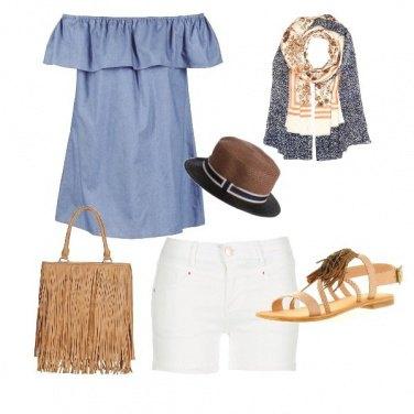 Outfit Cuoio e azzurro