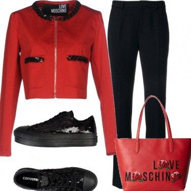 Outfit Glam rosso e nero