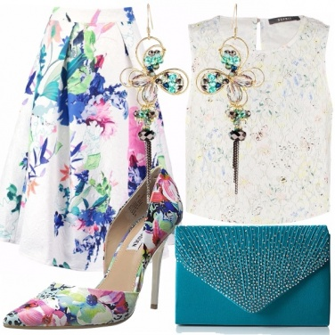 Outfit Pailettes e fiori