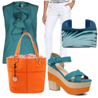 Outfit Dark blue green and orange