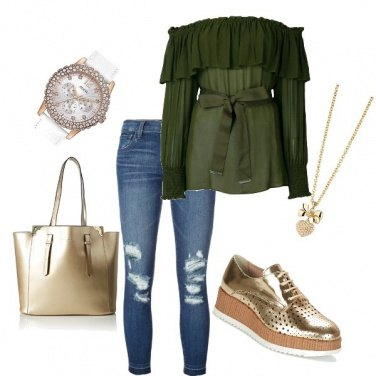 Outfit Green and golden