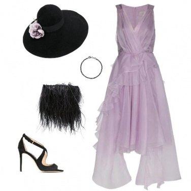 Outfit Cerimonia in lilla e piume