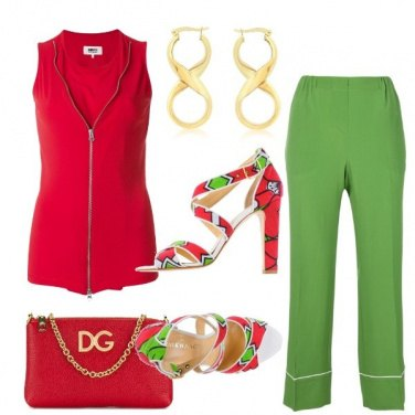 Outfit Rosso e lime