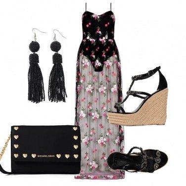 Outfit Fiori e nero