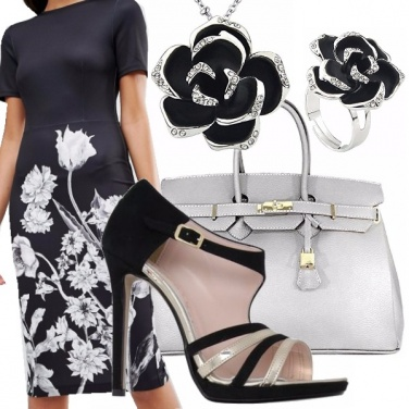 Outfit Flowers silver & black