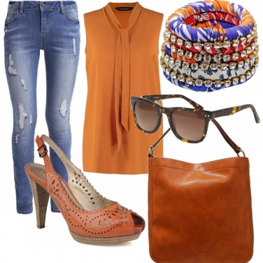 Outfit Arancio&blu