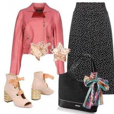 Outfit Il biker rosa pesca