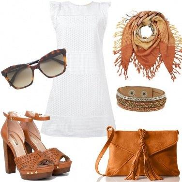 Outfit Bianco e cuoio