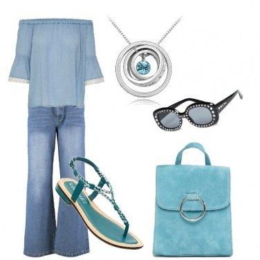 Outfit Denim e turchese