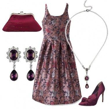 Outfit Jacquard a fiori e accessori ciclamino