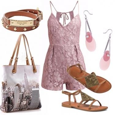 Outfit Pizzo rosa per la jumpsuit