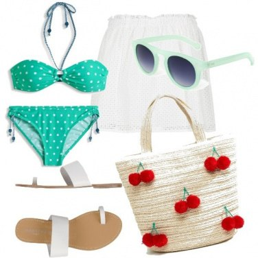 Outfit Verde menta a pois