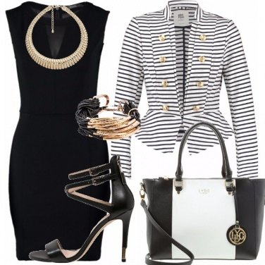 Outfit Black Dress Navy