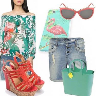 Outfit Rosa fenicottero e verde acqua