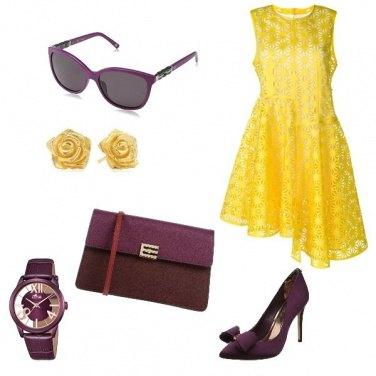 Outfit Matrimonio viola e giallo
