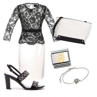 Outfit Vestito spezzato bianco e nero